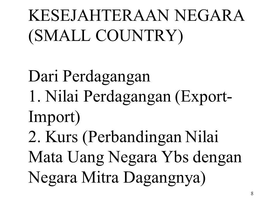 8 KESEJAHTERAAN NEGARA (SMALL COUNTRY) Dari Perdagangan 1. Nilai Perdagangan (Export- Import) 2. Kurs (Perbandingan Nilai Mata Uang Negara Ybs dengan