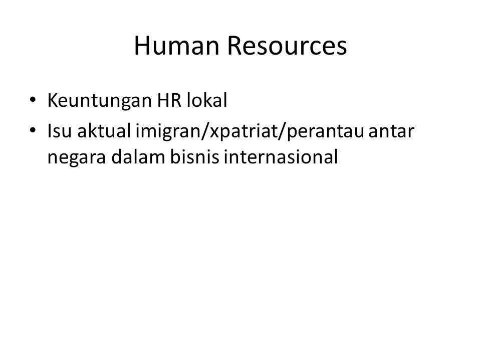 Human Resources Keuntungan HR lokal Isu aktual imigran/xpatriat/perantau antar negara dalam bisnis internasional