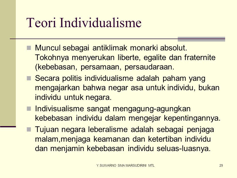 Y.SUWARNO SMA MARSUDIRINI MTL30 TEORI SOSIALISME Sosialisme muncul di eropa menyusul revolusi industri dan sekaligus penghisapan ekonomi kaum kapitalis/borjuis terhadap kaum buruh/proletariat.