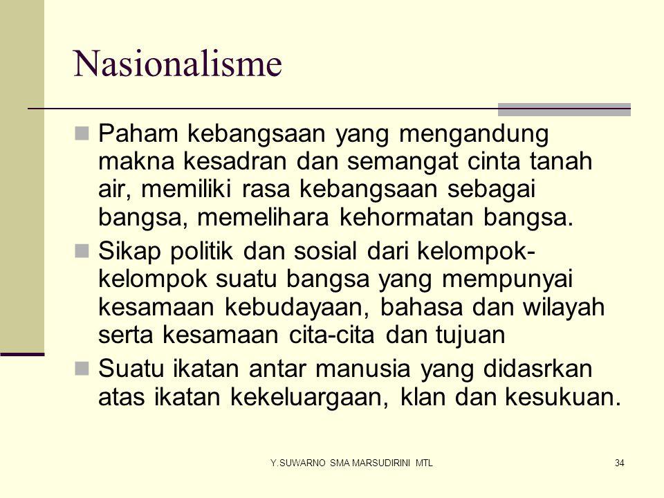 Y.SUWARNO SMA MARSUDIRINI MTL35 Nasionalisme arti sempit dan luas Sempit : chauvinisme : perasaan kebangsaan atau cinta bangsa yang berlebihan sehingga merendahkan bangsa lain.