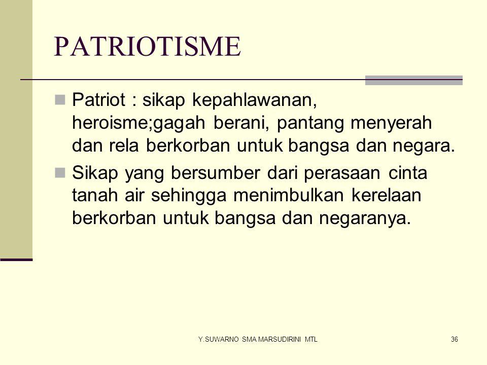 Y.SUWARNO SMA MARSUDIRINI MTL37 Wujud patriotisme Masa perang : membela negara sampai titik darah penghabisan.