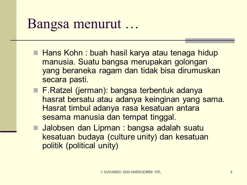 Y.SUWARNO SMA MARSUDIRINI MTL7 Unsur terbentuknya Bangsa Hans Kohn :Kesamaan keturunan, wilayah, bahasa, cita-cita, sejarah hidup dan nasib, adat budaya, kesamaan politik, perasaan dan agama.