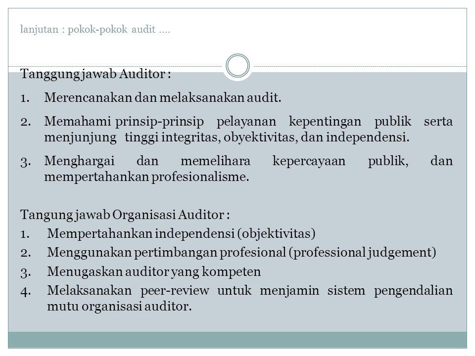 lanjutan : pokok-pokok audit....Tanggung jawab Auditor : 1.Merencanakan dan melaksanakan audit.