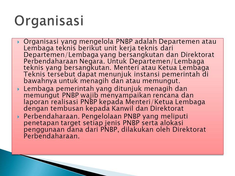  Organisasi yang mengelola PNBP adalah Departemen atau Lembaga teknis berikut unit kerja teknis dari Departemen/Lembaga yang bersangkutan dan Direkto