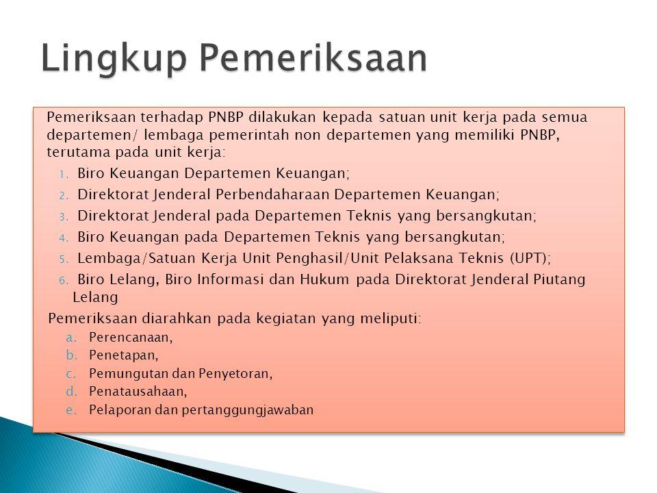Pemeriksaan terhadap PNBP dilakukan kepada satuan unit kerja pada semua departemen/ lembaga pemerintah non departemen yang memiliki PNBP, terutama pad