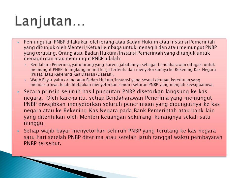  Pemungutan PNBP dilakukan oleh orang atau Badan Hukum atau Instansi Pemerintah yang ditunjuk oleh Menteri/Ketua Lembaga untuk menagih dan atau memun