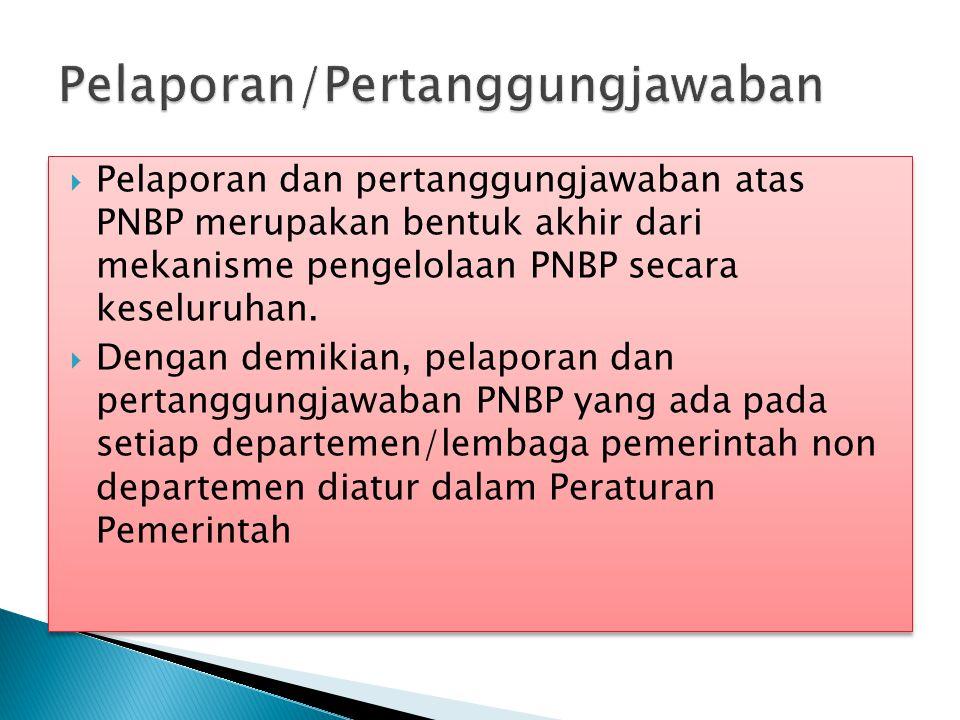  Pelaporan dan pertanggungjawaban atas PNBP merupakan bentuk akhir dari mekanisme pengelolaan PNBP secara keseluruhan.  Dengan demikian, pelaporan d