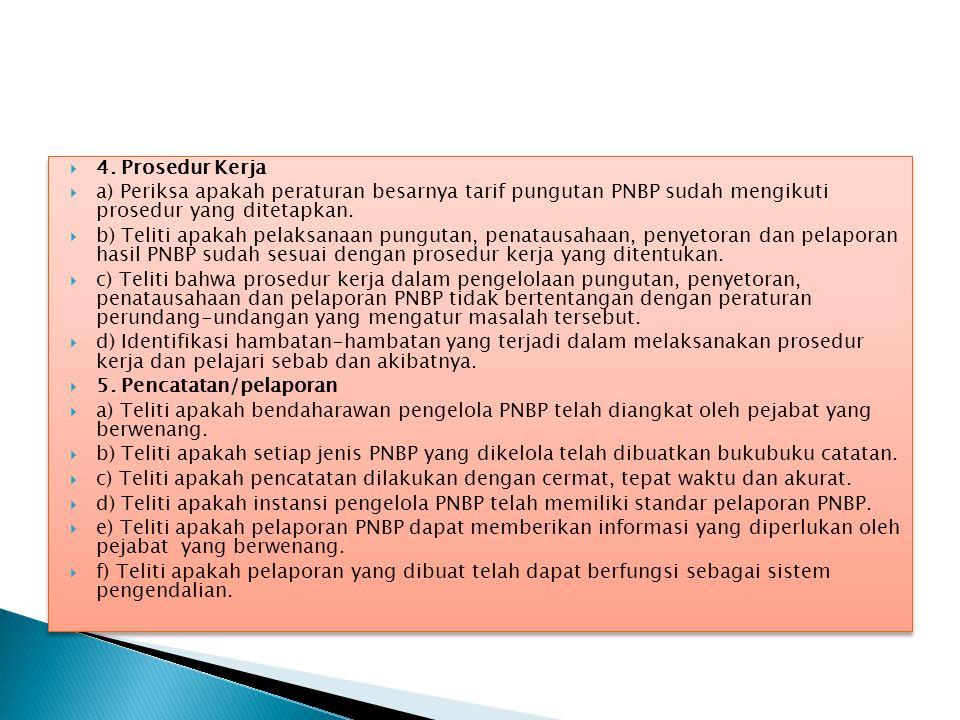  4. Prosedur Kerja  a) Periksa apakah peraturan besarnya tarif pungutan PNBP sudah mengikuti prosedur yang ditetapkan.  b) Teliti apakah pelaksanaa