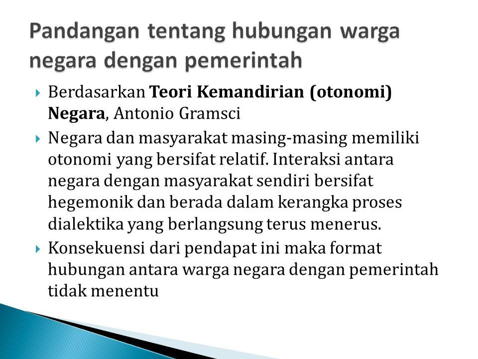  Berdasarkan Teori Kemandirian (otonomi) Negara, Antonio Gramsci  Negara dan masyarakat masing-masing memiliki otonomi yang bersifat relatif. Intera