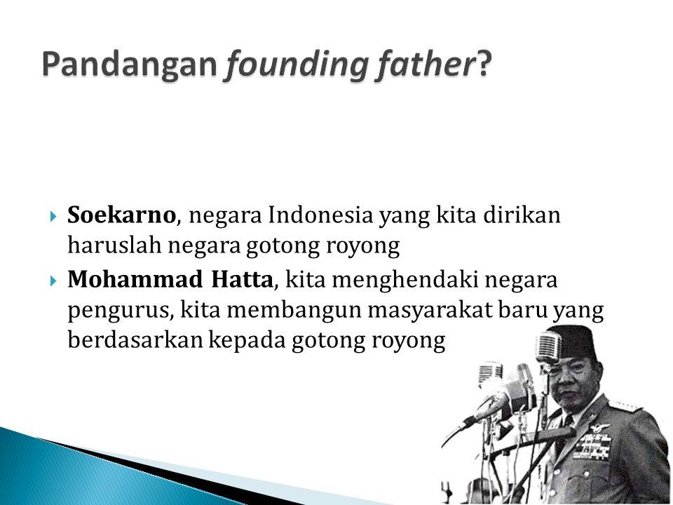 Soekarno, negara Indonesia yang kita dirikan haruslah negara gotong royong  Mohammad Hatta, kita menghendaki negara pengurus, kita membangun masyar