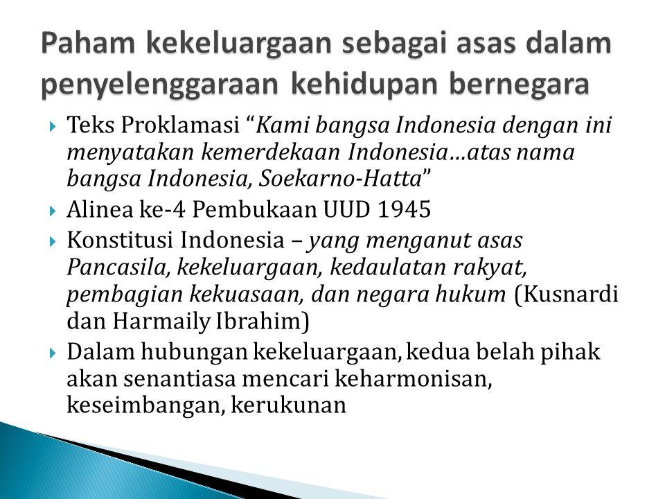 " Teks Proklamasi ""Kami bangsa Indonesia dengan ini menyatakan kemerdekaan Indonesia…atas nama bangsa Indonesia, Soekarno-Hatta""  Alinea ke-4 Pembuka"