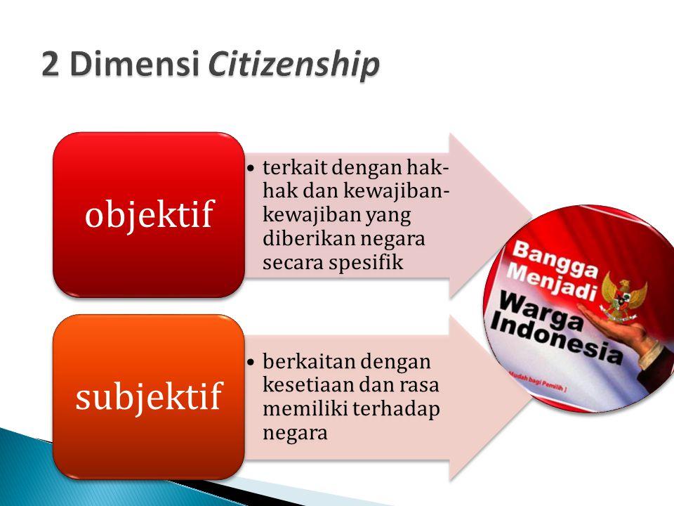 terkait dengan hak- hak dan kewajiban- kewajiban yang diberikan negara secara spesifik objektif berkaitan dengan kesetiaan dan rasa memiliki terhadap
