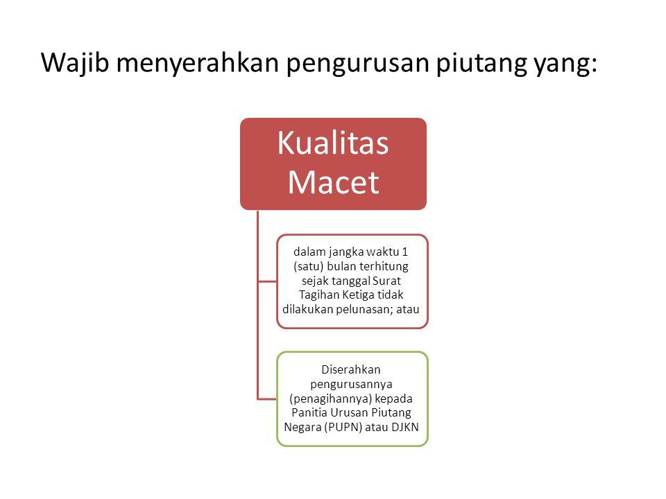 Wajib menyerahkan pengurusan piutang yang: Kualitas Macet dalam jangka waktu 1 (satu) bulan terhitung sejak tanggal Surat Tagihan Ketiga tidak dilakuk