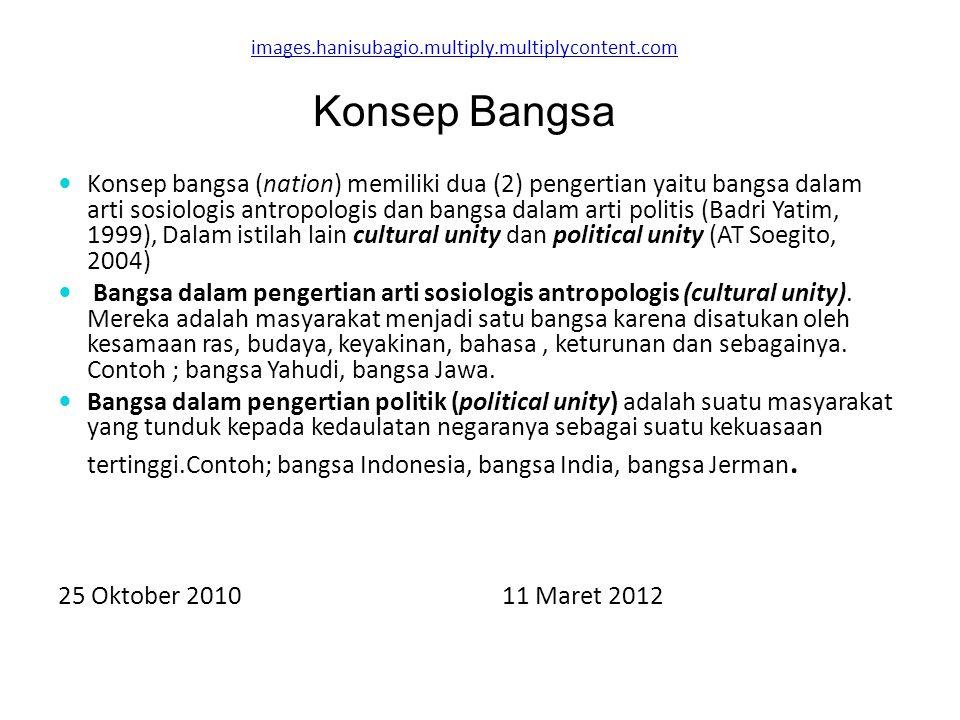 images.hanisubagio.multiply.multiplycontent.com Konsep bangsa (nation) memiliki dua (2) pengertian yaitu bangsa dalam arti sosiologis antropologis dan