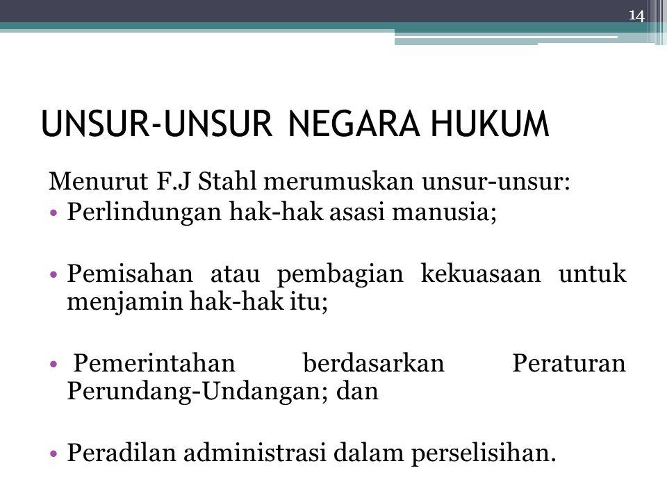 UNSUR-UNSUR NEGARA HUKUM Menurut F.J Stahl merumuskan unsur-unsur: Perlindungan hak-hak asasi manusia; Pemisahan atau pembagian kekuasaan untuk menjam