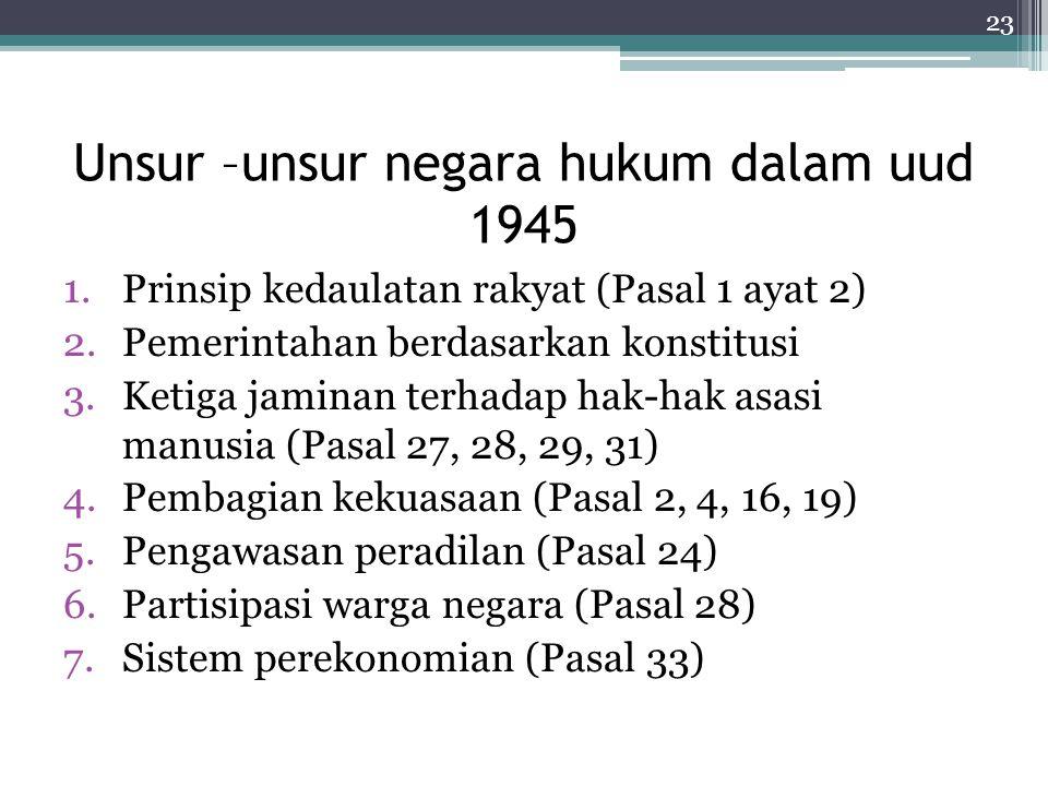 Unsur –unsur negara hukum dalam uud 1945 1.Prinsip kedaulatan rakyat (Pasal 1 ayat 2) 2.Pemerintahan berdasarkan konstitusi 3.Ketiga jaminan terhadap hak-hak asasi manusia (Pasal 27, 28, 29, 31) 4.Pembagian kekuasaan (Pasal 2, 4, 16, 19) 5.Pengawasan peradilan (Pasal 24) 6.Partisipasi warga negara (Pasal 28) 7.Sistem perekonomian (Pasal 33) 23