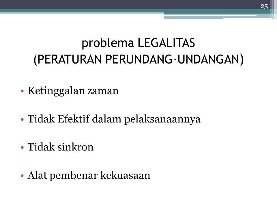 problema LEGALITAS (PERATURAN PERUNDANG-UNDANGAN ) Ketinggalan zaman Tidak Efektif dalam pelaksanaannya Tidak sinkron Alat pembenar kekuasaan 25