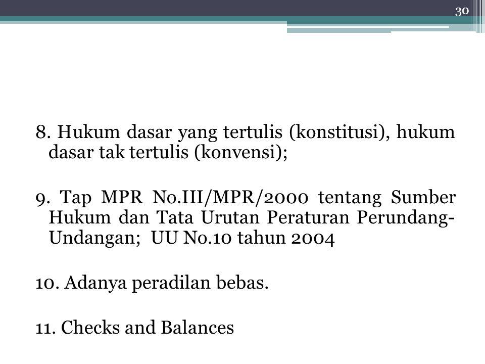 8. Hukum dasar yang tertulis (konstitusi), hukum dasar tak tertulis (konvensi); 9. Tap MPR No.III/MPR/2000 tentang Sumber Hukum dan Tata Urutan Peratu