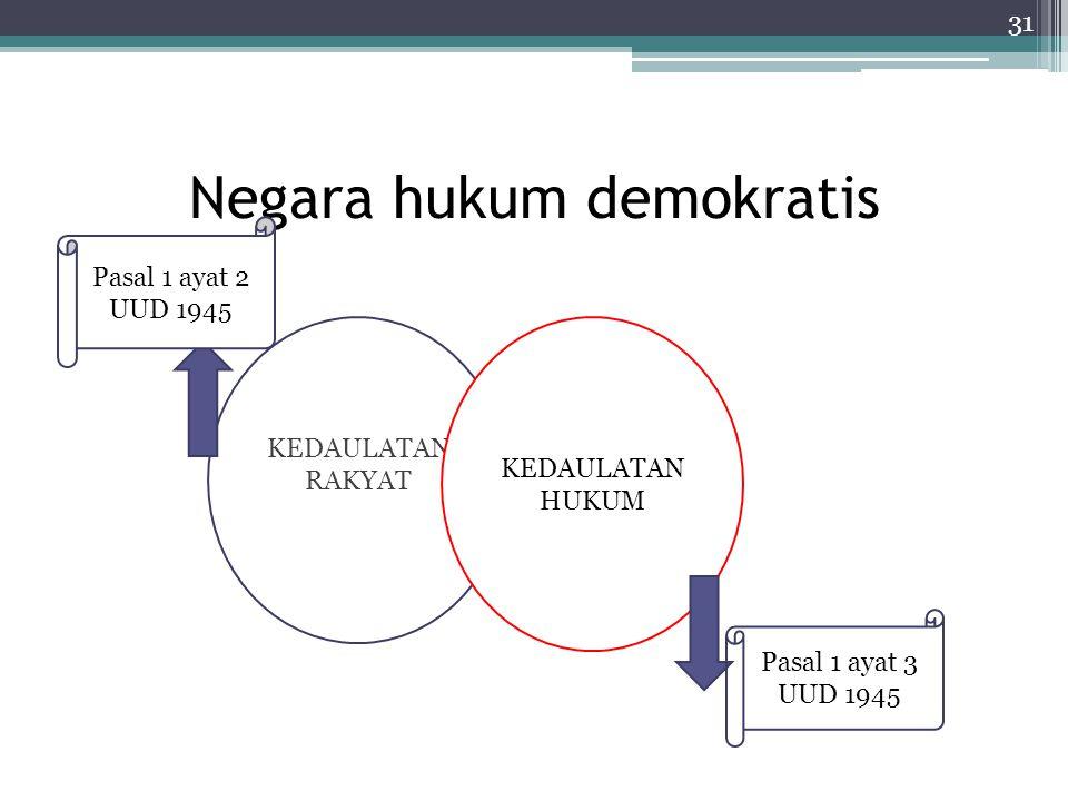 Negara hukum demokratis 31 KEDAULATAN RAKYAT KEDAULATAN HUKUM Pasal 1 ayat 3 UUD 1945 Pasal 1 ayat 2 UUD 1945