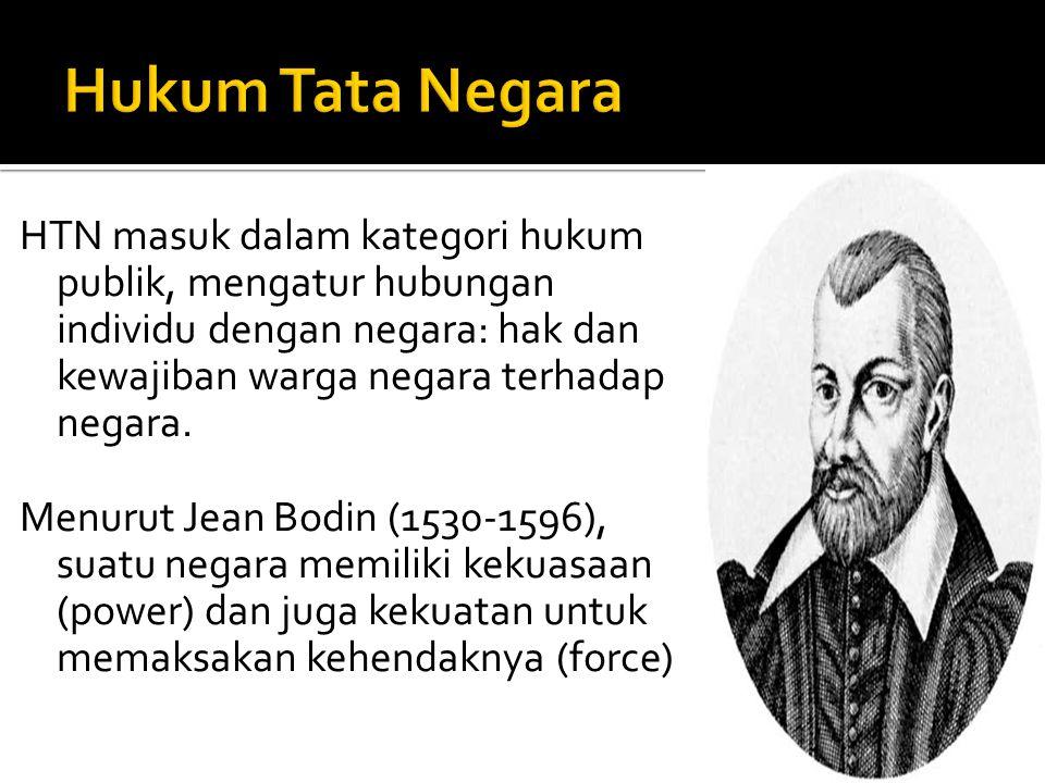 HTN masuk dalam kategori hukum publik, mengatur hubungan individu dengan negara: hak dan kewajiban warga negara terhadap negara. Menurut Jean Bodin (1
