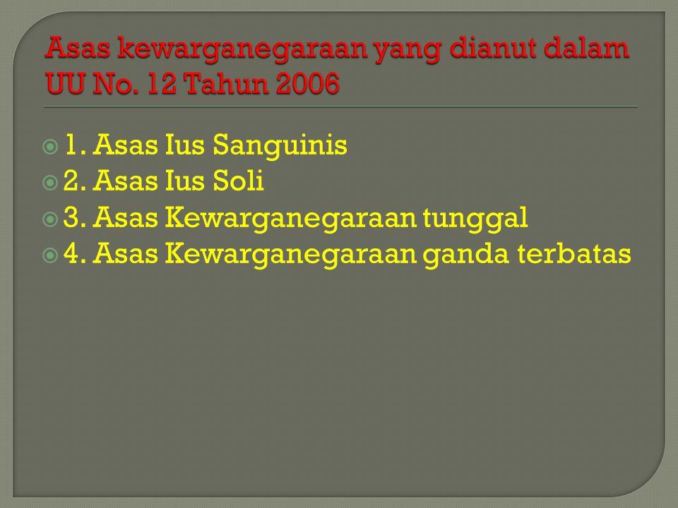  1.Asas Ius Sanguinis  2. Asas Ius Soli  3. Asas Kewarganegaraan tunggal  4.