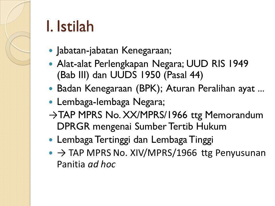 Sub Pokok Bahasan I. Istilah II. Pengertian lembaga negara; dan III. Jenis dan Macam lembaga negara.