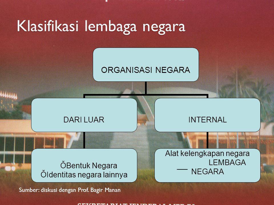 III. Jenis dan Macam lembaga negara a. Main state's organ: Trias Politica, MPR, DPR, DPD, Presiden, MA, MK. b. AuxiIary state's organ: pembagian kekua