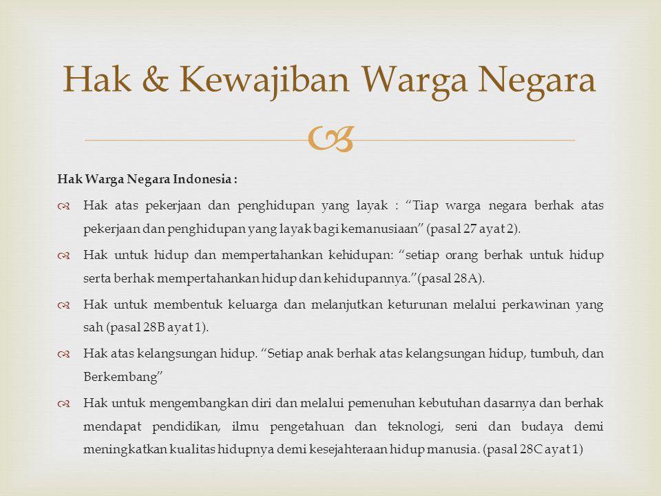 """ Hak Warga Negara Indonesia :  Hak atas pekerjaan dan penghidupan yang layak : """"Tiap warga negara berhak atas pekerjaan dan penghidupan yang layak b"""