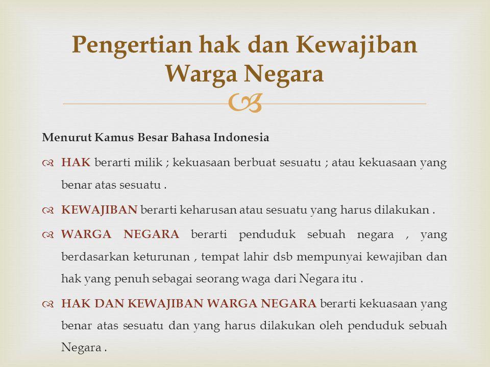  Menurut Kamus Besar Bahasa Indonesia  HAK berarti milik ; kekuasaan berbuat sesuatu ; atau kekuasaan yang benar atas sesuatu.  KEWAJIBAN berarti k