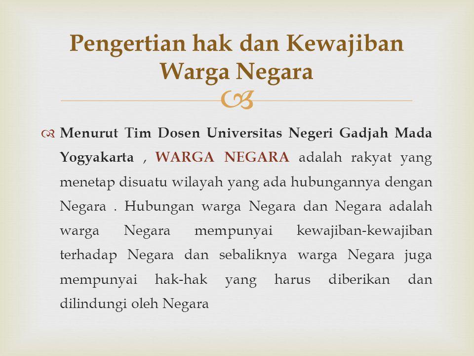   Menurut Tim Dosen Universitas Negeri Gadjah Mada Yogyakarta, WARGA NEGARA adalah rakyat yang menetap disuatu wilayah yang ada hubungannya dengan N