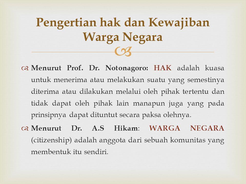   Menurut Prof. Dr. Notonagoro: HAK adalah kuasa untuk menerima atau melakukan suatu yang semestinya diterima atau dilakukan melalui oleh pihak tert