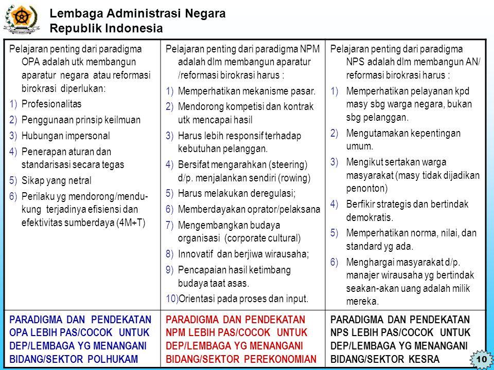 Lembaga Administrasi Negara Republik Indonesia Pelajaran penting dari paradigma OPA adalah utk membangun aparatur negara atau reformasi birokrasi dipe