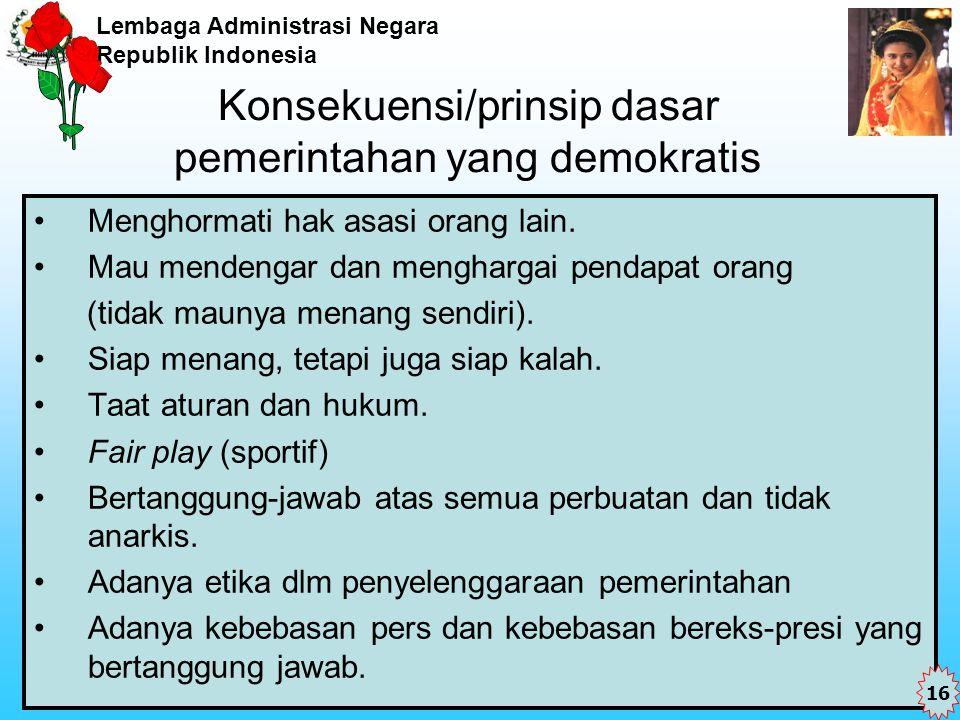 Lembaga Administrasi Negara Republik Indonesia Konsekuensi/prinsip dasar pemerintahan yang demokratis Menghormati hak asasi orang lain. Mau mendengar