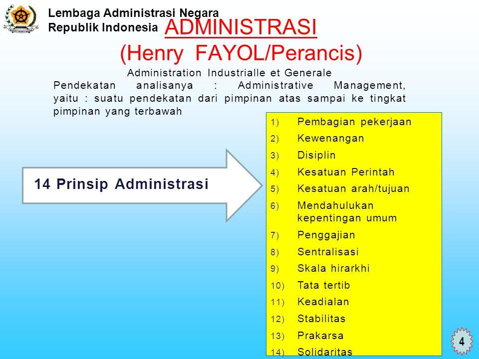 Lembaga Administrasi Negara Republik Indonesia ADMINISTRASI (Henry FAYOL/Perancis) 14 Prinsip Administrasi 1) Pembagian pekerjaan 2) Kewenangan 3) Dis