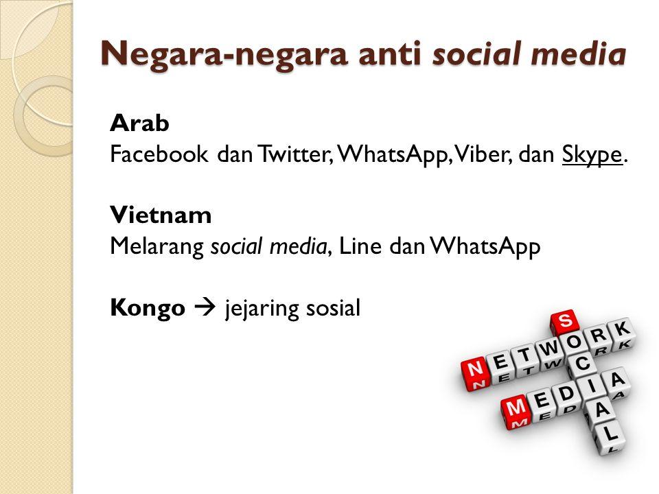 Negara-negara anti social media Arab Facebook dan Twitter, WhatsApp, Viber, dan Skype. Vietnam Melarang social media, Line dan WhatsApp Kongo  jejari