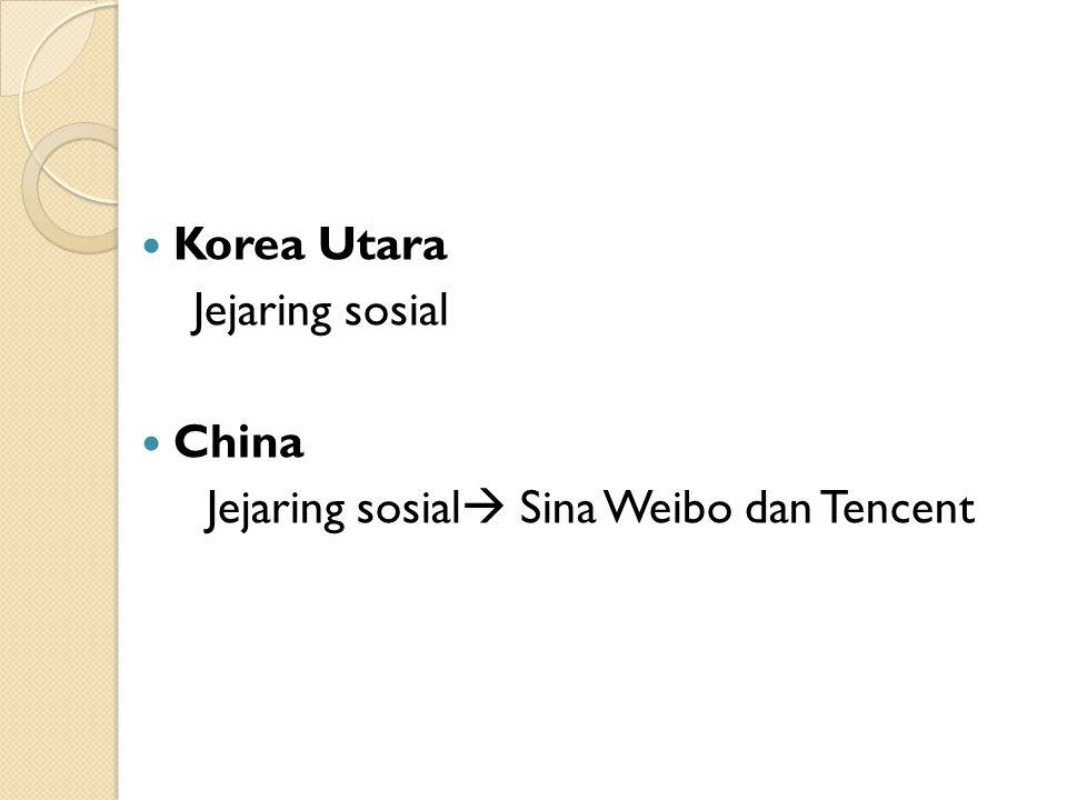 Korea Utara Jejaring sosial China Jejaring sosial  Sina Weibo dan Tencent