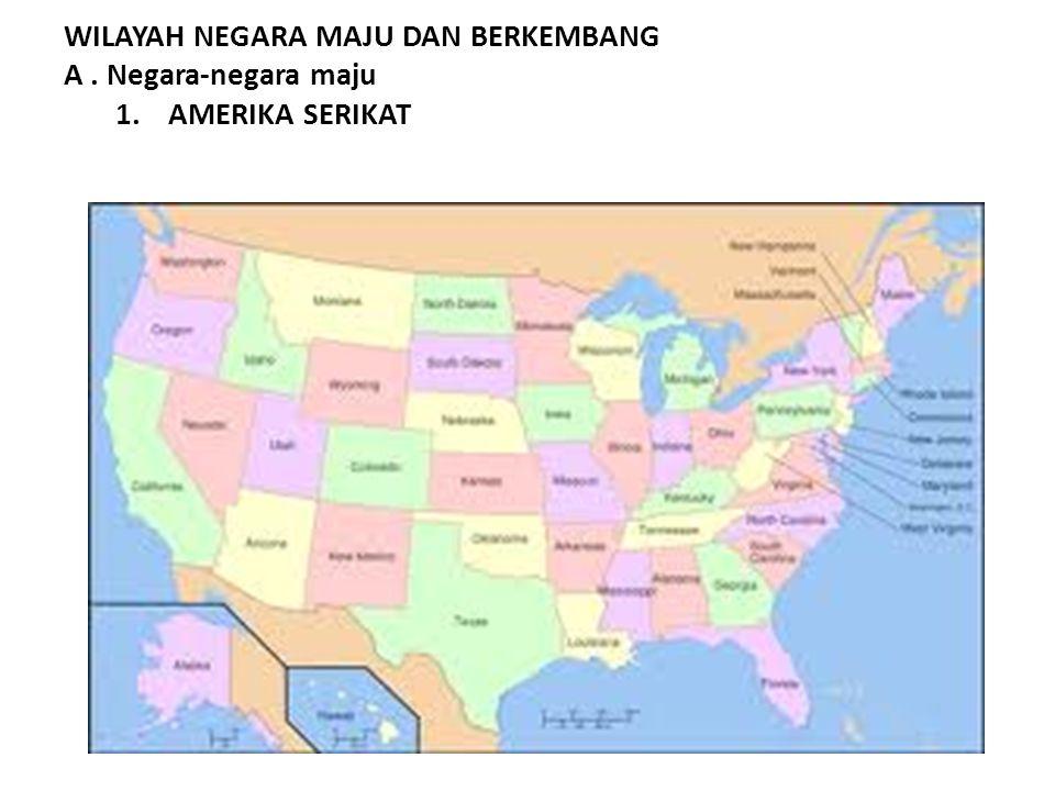WILAYAH NEGARA MAJU DAN BERKEMBANG A. Negara-negara maju 1.AMERIKA SERIKAT