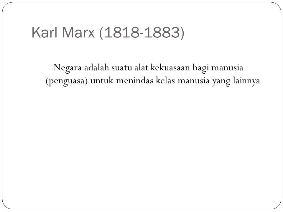 Karl Marx (1818-1883) Negara adalah suatu alat kekuasaan bagi manusia (penguasa) untuk menindas kelas manusia yang lainnya