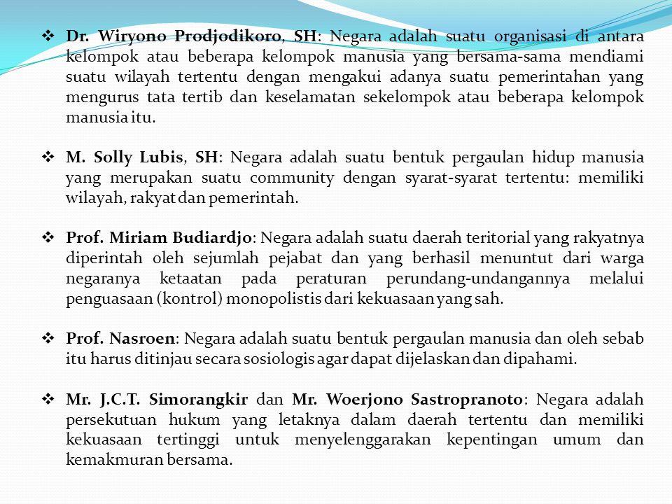  Dr. Wiryono Prodjodikoro, SH: Negara adalah suatu organisasi di antara kelompok atau beberapa kelompok manusia yang bersama-sama mendiami suatu wila