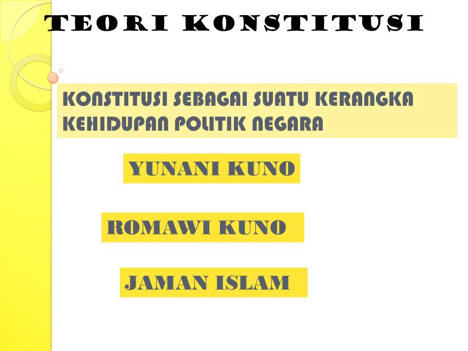 Teori konstitusi YUNANI KUNO KONSTITUSI SEBAGAI SUATU KERANGKA KEHIDUPAN POLITIK NEGARA JAMAN ISLAM ROMAWI KUNO