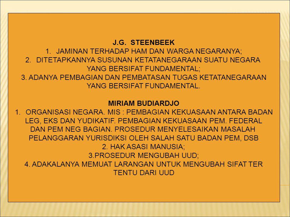 J.G. STEENBEEK 1.JAMINAN TERHADAP HAM DAN WARGA NEGARANYA; 2.DITETAPKANNYA SUSUNAN KETATANEGARAAN SUATU NEGARA YANG BERSIFAT FUNDAMENTAL; 3. ADANYA PE