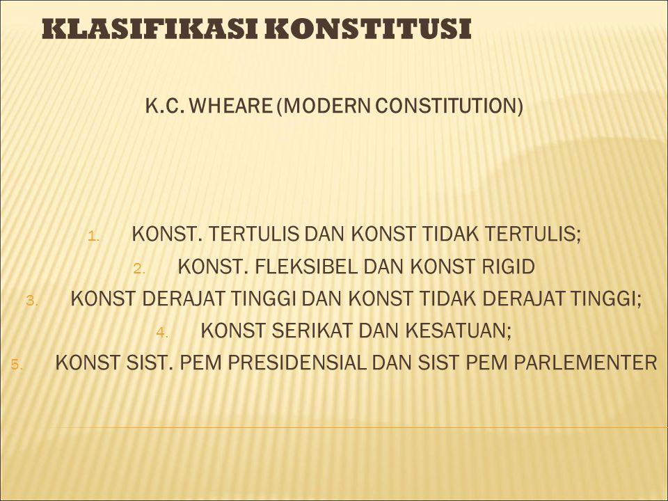 KLASIFIKASI KONSTITUSI K.C. WHEARE (MODERN CONSTITUTION) 1. KONST. TERTULIS DAN KONST TIDAK TERTULIS; 2. KONST. FLEKSIBEL DAN KONST RIGID 3. KONST DER