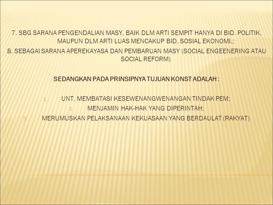 7. SBG SARANA PENGENDALIAN MASY, BAIK DLM ARTI SEMPIT HANYA DI BID. POLITIK, MAUPUN DLM ARTI LUAS MENCAKUP BID. SOSIAL EKONOMI.; 8. SEBAGAI SARANA APE
