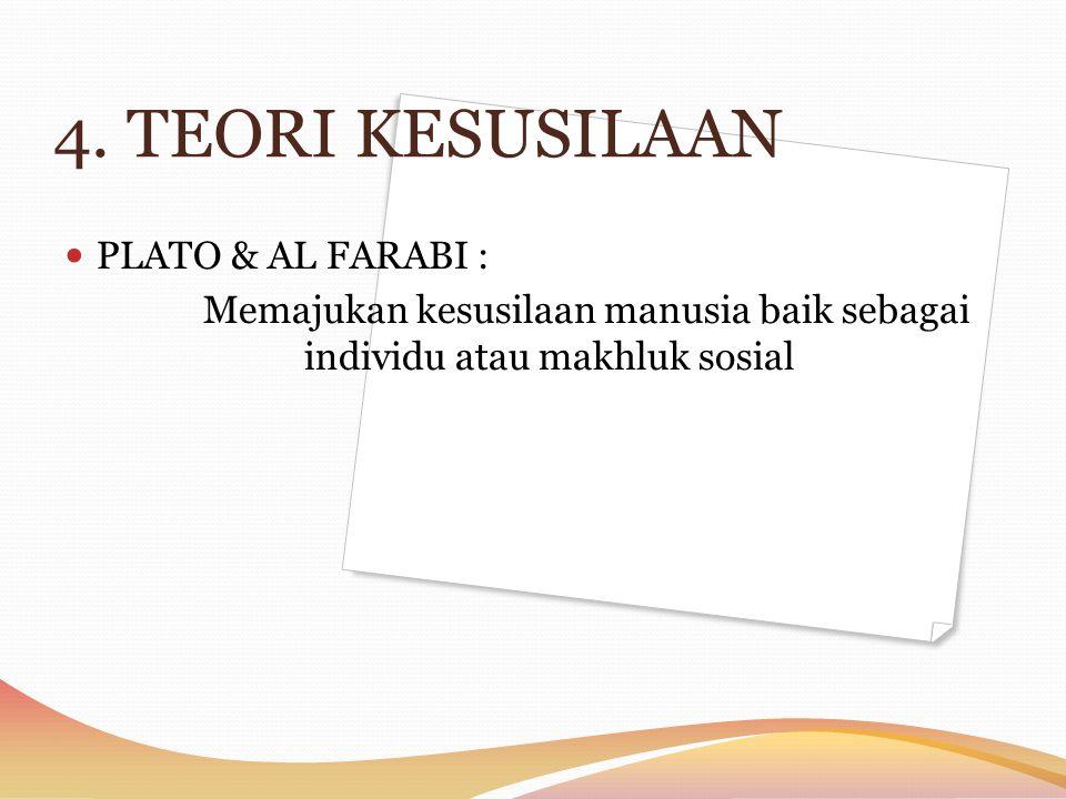 4. TEORI KESUSILAAN PLATO & AL FARABI : Memajukan kesusilaan manusia baik sebagai individu atau makhluk sosial