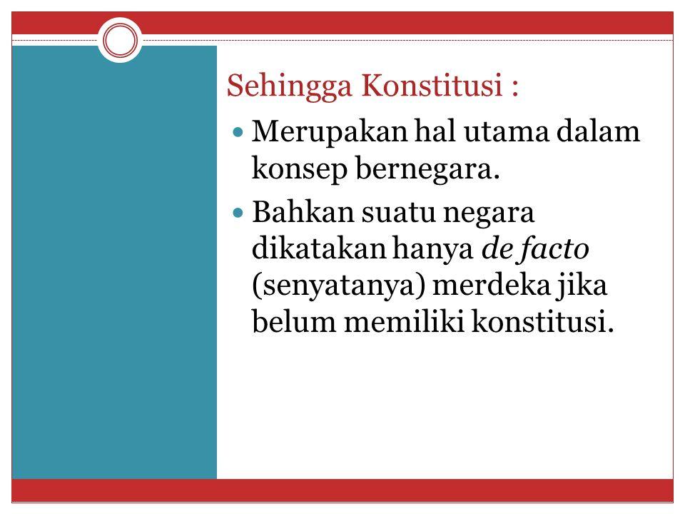 Asal kata Konstitusi berasal dari bahasa Latin (constituo, constitutum) yaitu setiap ketentuan yg terkait dg keorganisasian negara yg terdapat dalam UUD hingga kebiasaan atau konvensi