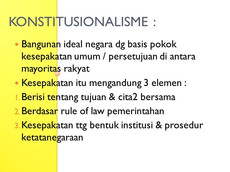 KONSTITUSIONALISME : Bangunan ideal negara dg basis pokok kesepakatan umum / persetujuan di antara mayoritas rakyat Kesepakatan itu mengandung 3 eleme