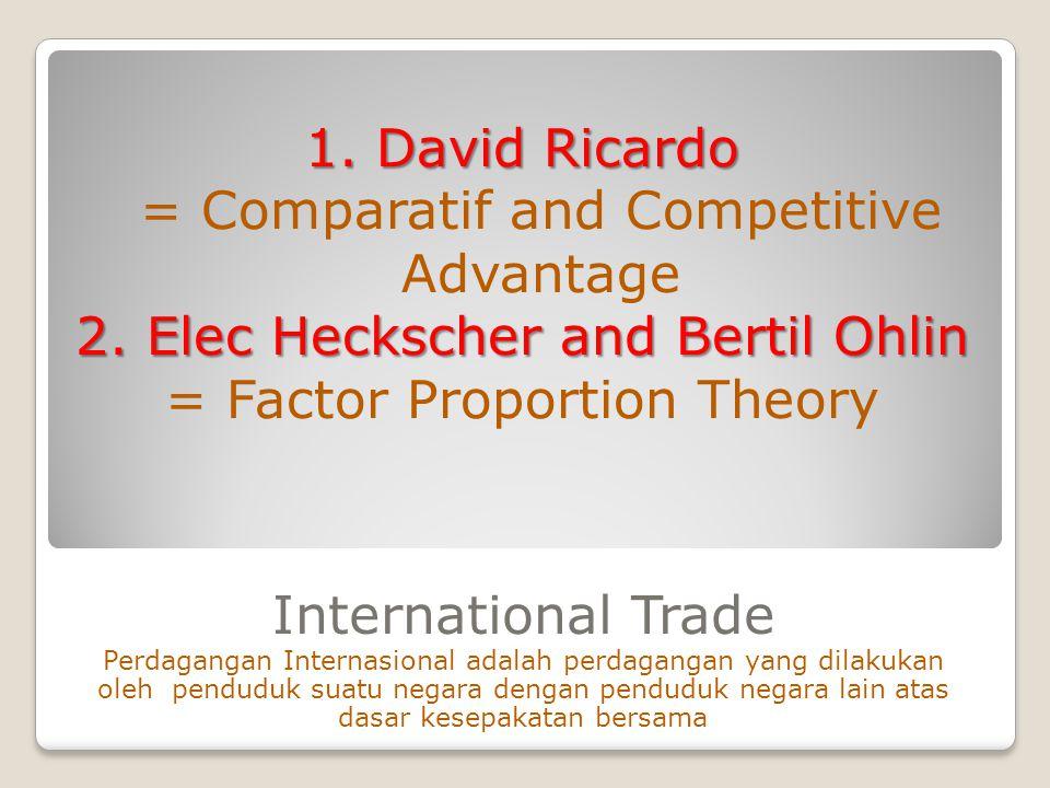International Trade Perdagangan Internasional adalah perdagangan yang dilakukan oleh penduduk suatu negara dengan penduduk negara lain atas dasar kese