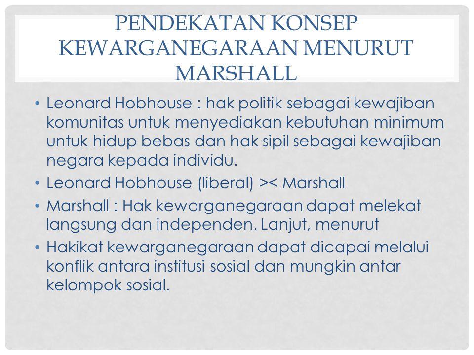 PENDEKATAN KONSEP KEWARGANEGARAAN MENURUT MARSHALL Leonard Hobhouse : hak politik sebagai kewajiban komunitas untuk menyediakan kebutuhan minimum untu