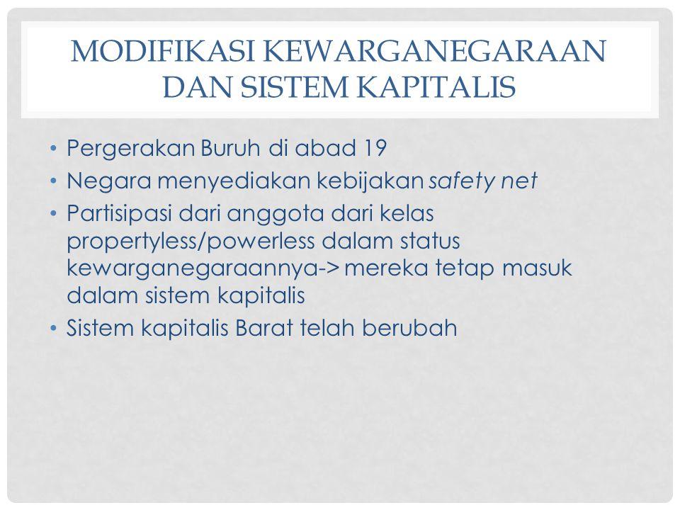 MODIFIKASI KEWARGANEGARAAN DAN SISTEM KAPITALIS Pergerakan Buruh di abad 19 Negara menyediakan kebijakan safety net Partisipasi dari anggota dari kela