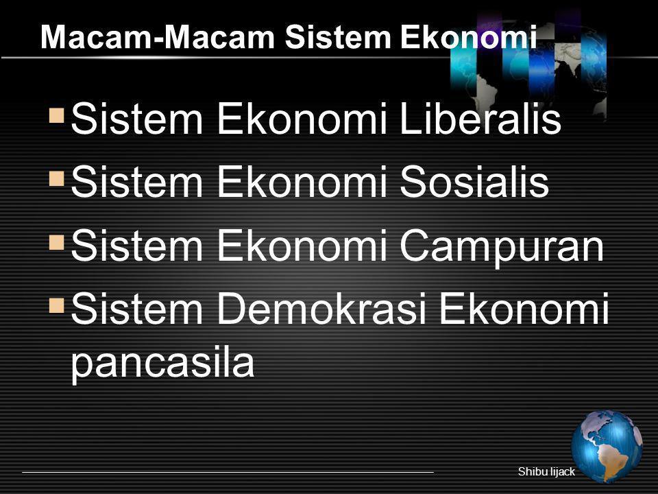 Macam-Macam Sistem Ekonomi  Sistem Ekonomi Liberalis  Sistem Ekonomi Sosialis  Sistem Ekonomi Campuran  Sistem Demokrasi Ekonomi pancasila Shibu l